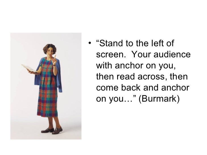 """<ul><li>"""" Stand to the left of screen.  Your audience with anchor on you, then read across, then come back and anchor on y..."""