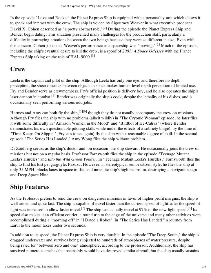 """2/20/12                                     Planet Express Ship - Wikipedia, the free encyclopedia    In the episode """"Love..."""