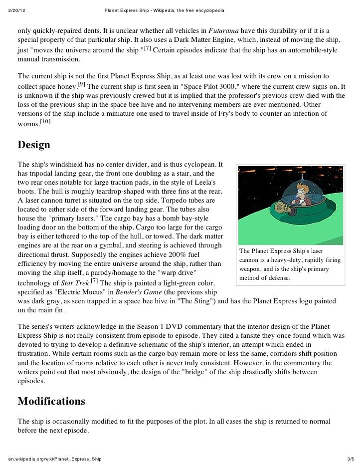 2/20/12                                     Planet Express Ship - Wikipedia, the free encyclopedia    only quickly-repaire...