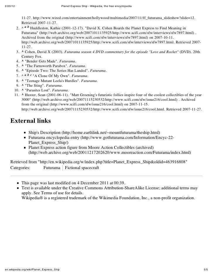 2/20/12                                     Planet Express Ship - Wikipedia, the free encyclopedia               11-27. ht...