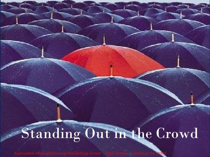 Standing Out in the Crowd Associated Manufacturing Marketing Group - Mike Bowes – February 12, 2009