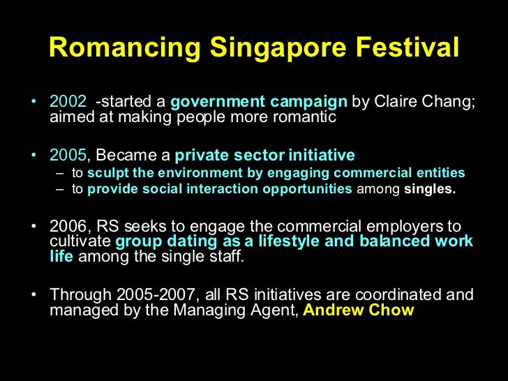 Singapore government matchmaking