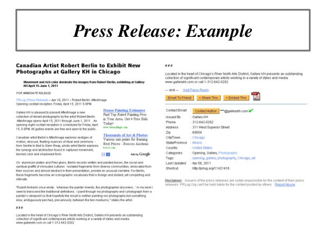Online marketing workshop using press releases to promote for How to write a good press release template