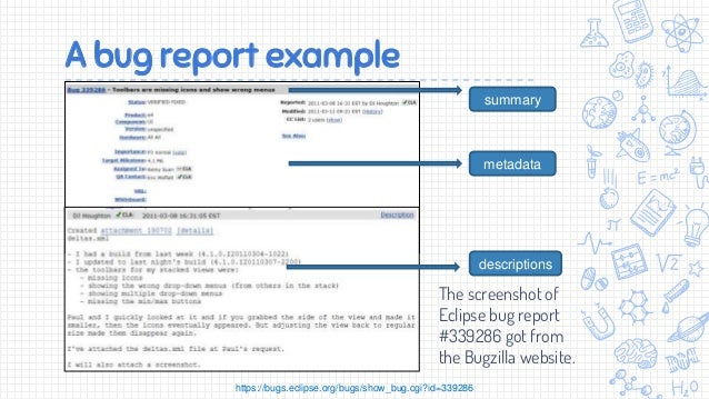 Automated bug localization – Bug Report Template