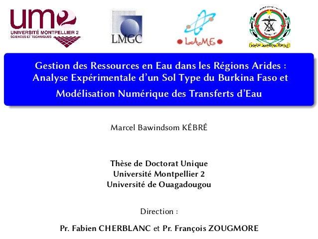 Gestion des Ressources en Eau dans les Régions Arides : Analyse Expérimentale d'un Sol Type du Burkina Faso et Modélisatio...