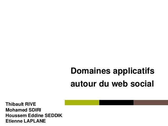 Institut Mines-Télécom Domaines applicatifs autour du web social Thibault RIVE Mohamed SDIRI Houssem Eddine SEDDIK Etienne...
