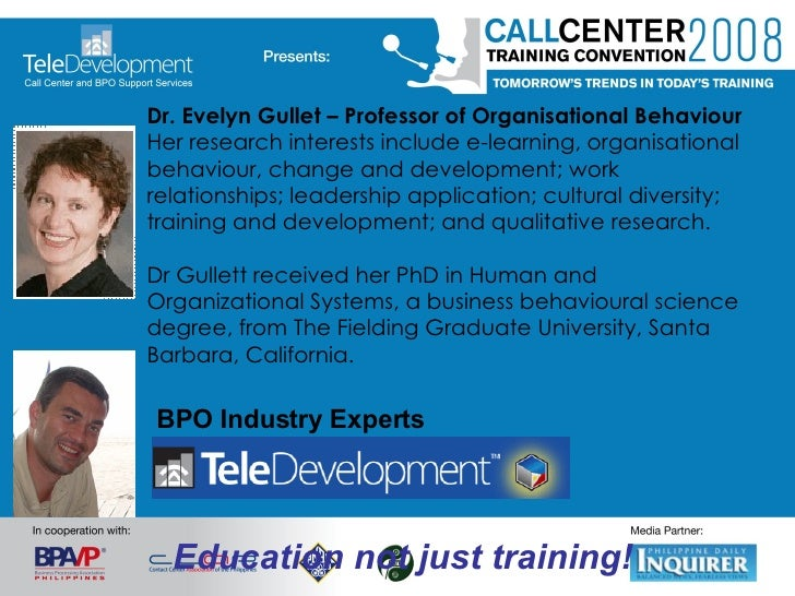 Dr. Evelyn Gullet – Professor of Organisational Behaviour Her research interests include e-learning, organisational behavi...