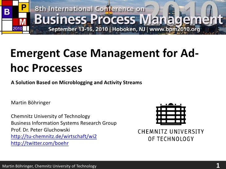 Emergent Case Management for Ad-hoc Processes<br />A Solution Based on Microblogging and Activity Streams <br />Martin Böh...
