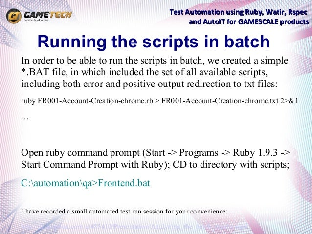 Test Automation using Ruby, Watir, Rspec and AutoIT for
