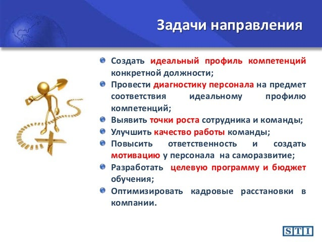 Презентация sti Направления Оценка персонала полная общая Задачи направления 7