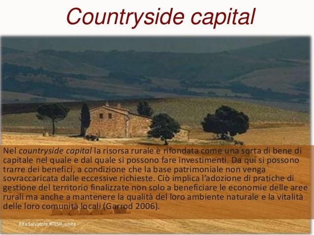 Countryside capital Nel countryside capital la risorsa rurale è rifondata come una sorta di bene di capitale nel quale e d...