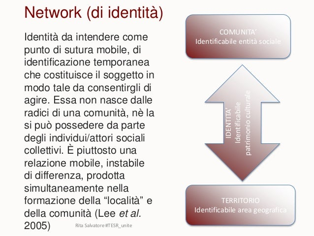 Network (di identità) Identità da intendere come punto di sutura mobile, di identificazione temporanea che costituisce il ...
