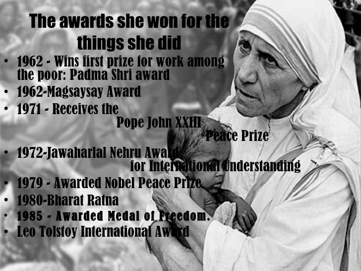 when did mother teresa win the nobel peace prize