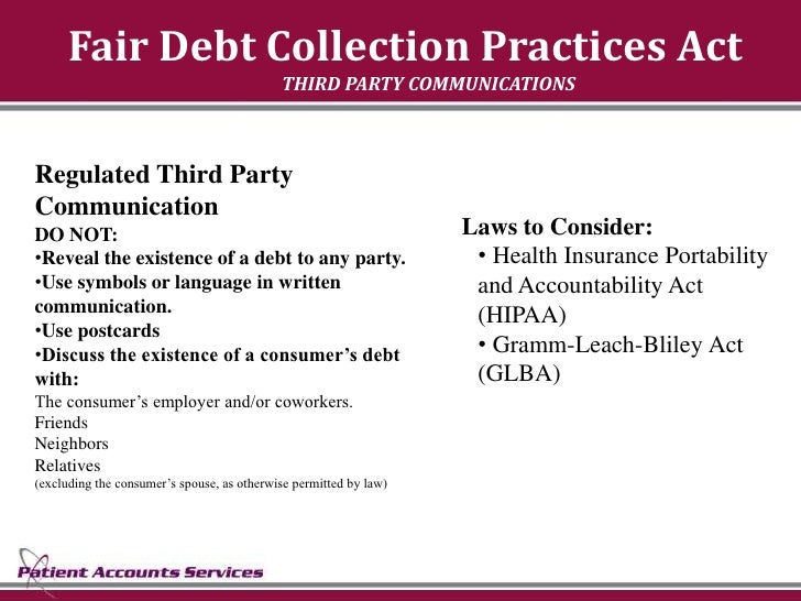 Fair Debt Collection Practices Act                                             THIRD PARTY COMMUNICATIONS    Regulated Thi...