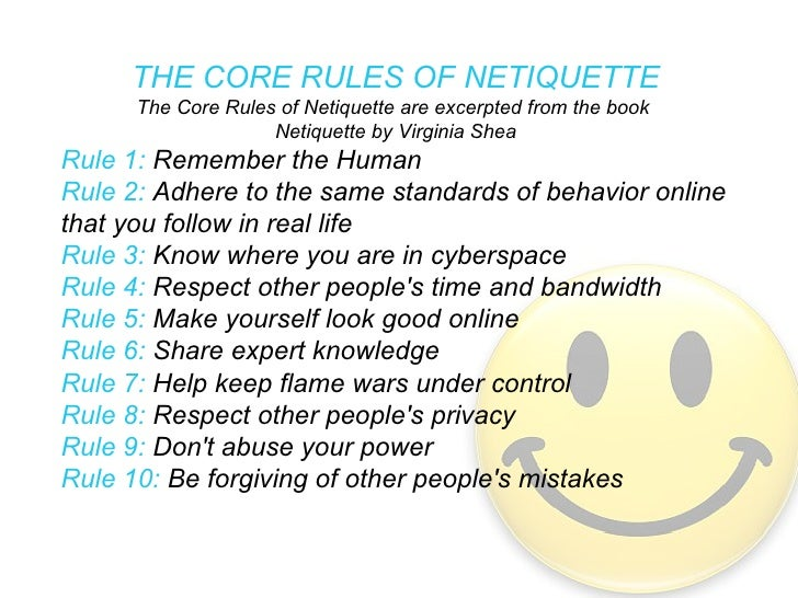 rule 1 the core rules of netiquette excerpted from autos