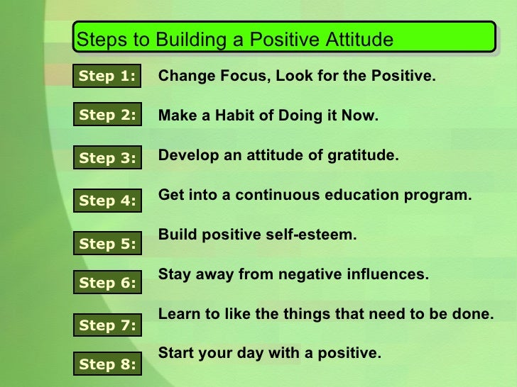 Steps to Building a Positive Attitude Change Focus, Look for the Positive. Make a Habit of Doing it Now. Develop an attitu...