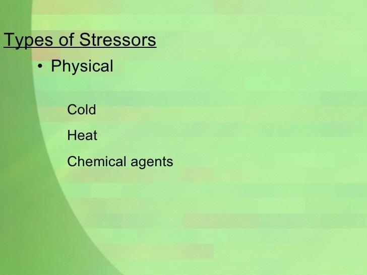 Types of Stressors <ul><li>Physical </li></ul>Cold  Heat Chemical agents