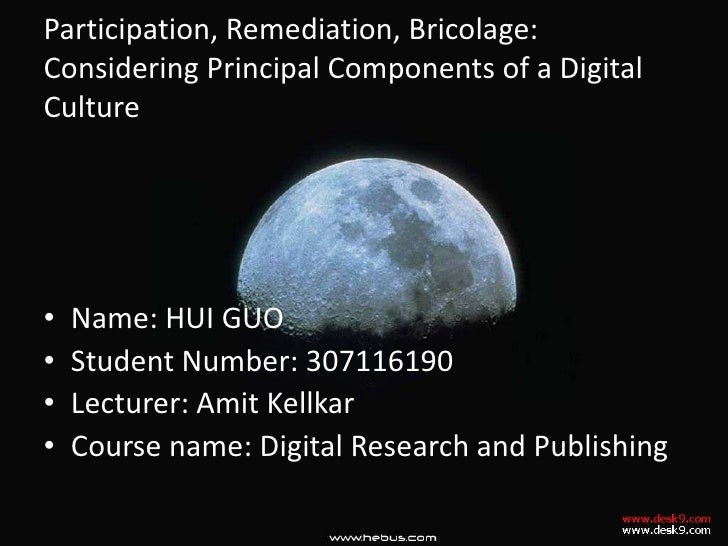 Participation, Remediation, Bricolage: Considering Principal Components of a Digital Culture<br />Name: HUI GUO<br />Stude...