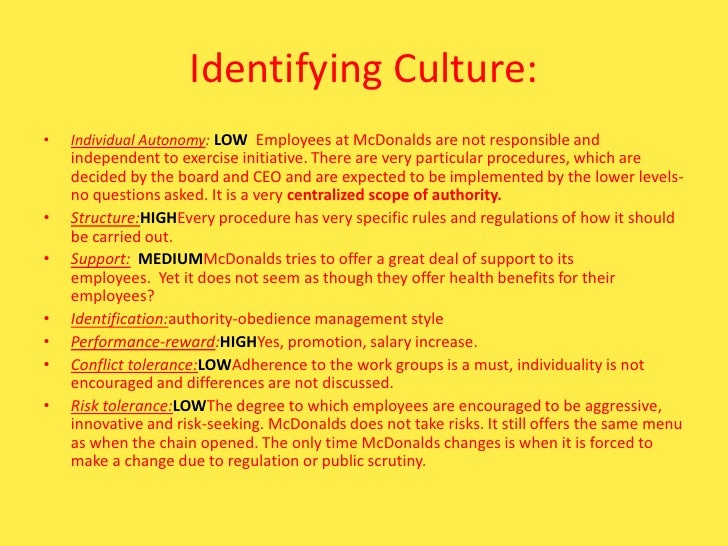 the organisational culture of mcdonalds The sign of the burger: mcdonald's and the culture of power reveals the secrets,  strategies, history, and significance of the mcdonald's enterprise in the united.