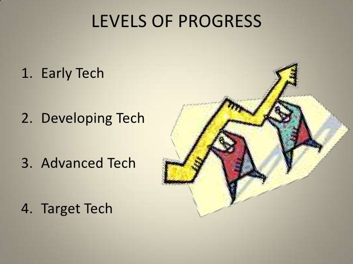LEVELS OF PROGRESS<br />Early Tech<br />Developing Tech<br />Advanced Tech<br />Target Tech<br />