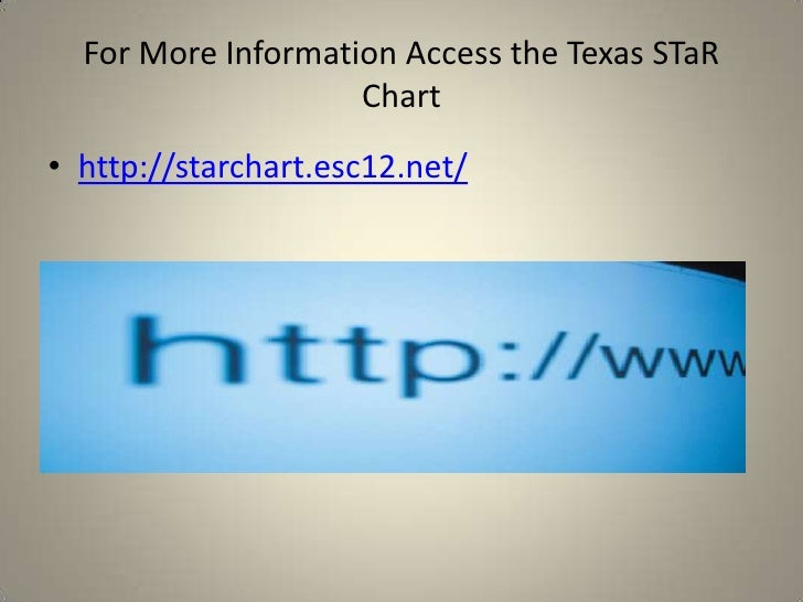For More Information Access the Texas STaR Chart<br />http://starchart.esc12.net/<br />