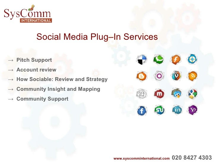 Social Media Plug–In Services ->  Pitch Support ->  Account review ->  How Sociable: Review and Strategy ->  Community Ins...