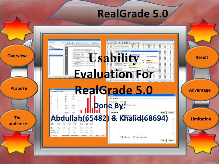RealGrade 5.0   Overview                    Usability                   Result                    Evaluation For  Purpose ...