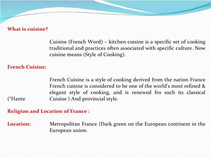 french cuisine an over view