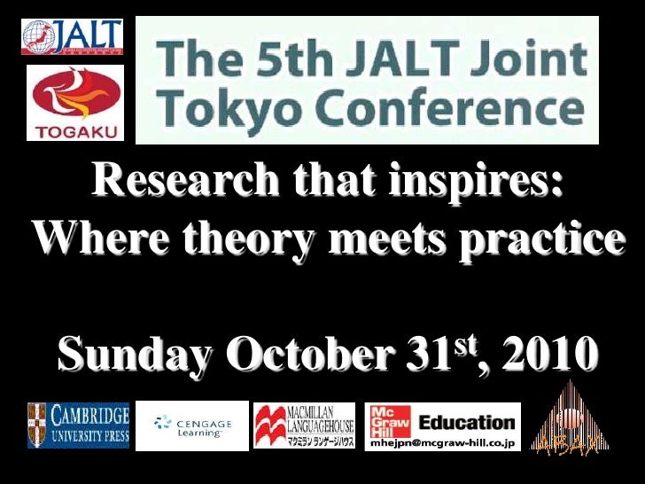 Research that inspires:  Where theory meets practiceSunday October 31st, 2010<br />