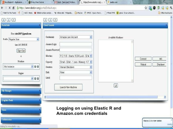 Logging on using Elastic R and Amazon.com credentials