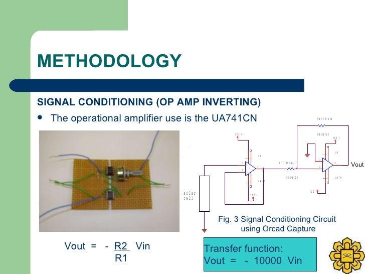 METHODOLOGY <ul><li>SIGNAL CONDITIONING (OP AMP INVERTING) </li></ul><ul><li>The operational amplifier use is the UA741CN ...