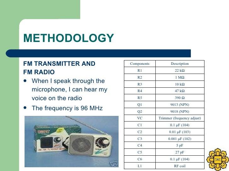 METHODOLOGY <ul><li>FM TRANSMITTER AND  </li></ul><ul><li>FM RADIO </li></ul><ul><li>When I speak through the  </li></ul><...