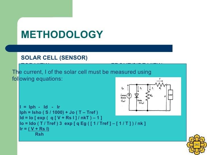 METHODOLOGY <ul><li>SOLAR CELL (SENSOR) </li></ul><ul><li>TOP VIEW  FRONT/SIDE VIEW </li></ul>0.6 cm 3 cm  solar cell 7.5 ...
