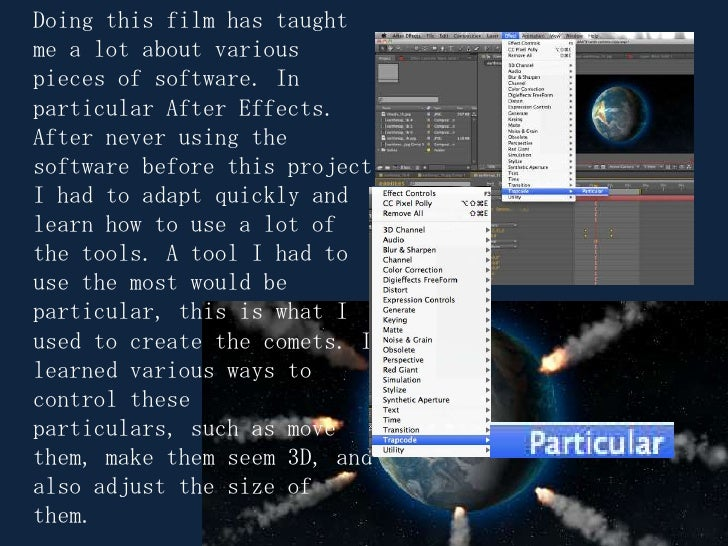 Doing this film has taught me a lot about various pieces of software. In particular After Effects. After never using the s...