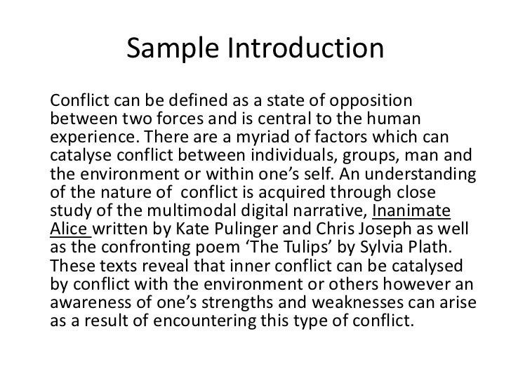 conflict essay writing sample introduction<br