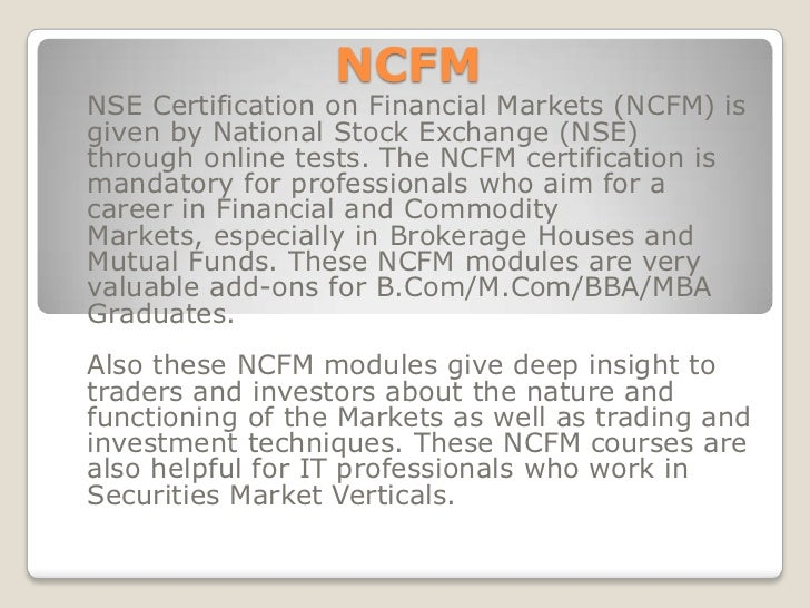 NCFM Modules
