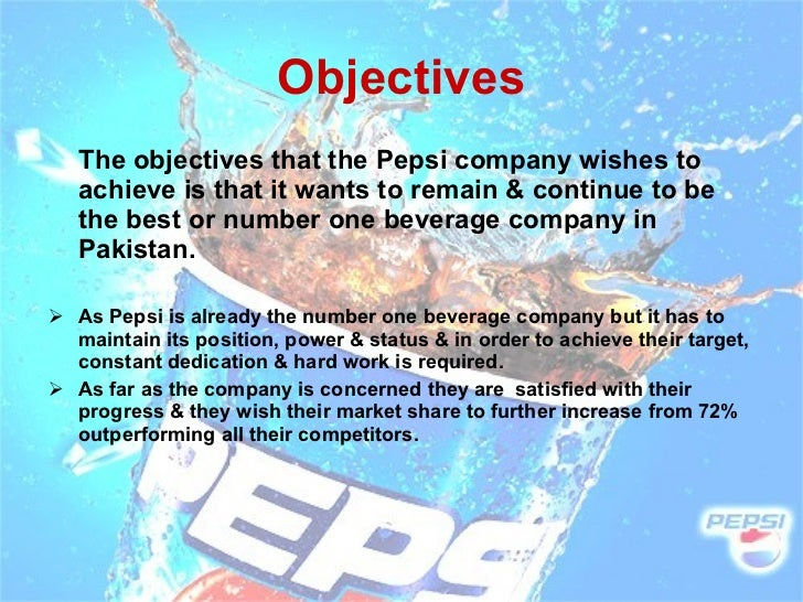 Objectives of pepsi