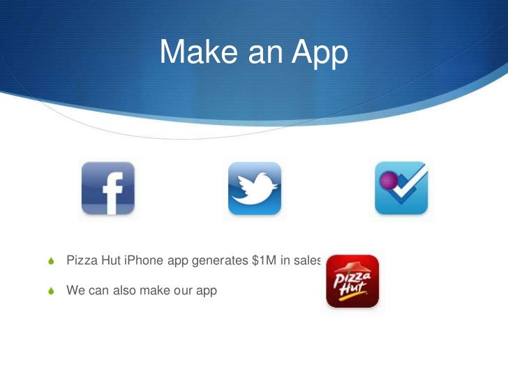 Make an App<br />Pizza Hut iPhone app generates $1M in sales<br />We can also make our app<br />