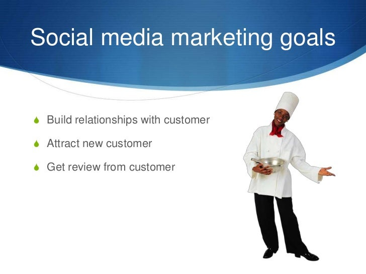 Social media marketing goals <br />Build relationships with customer<br />Attract new customer<br />Get review from custom...