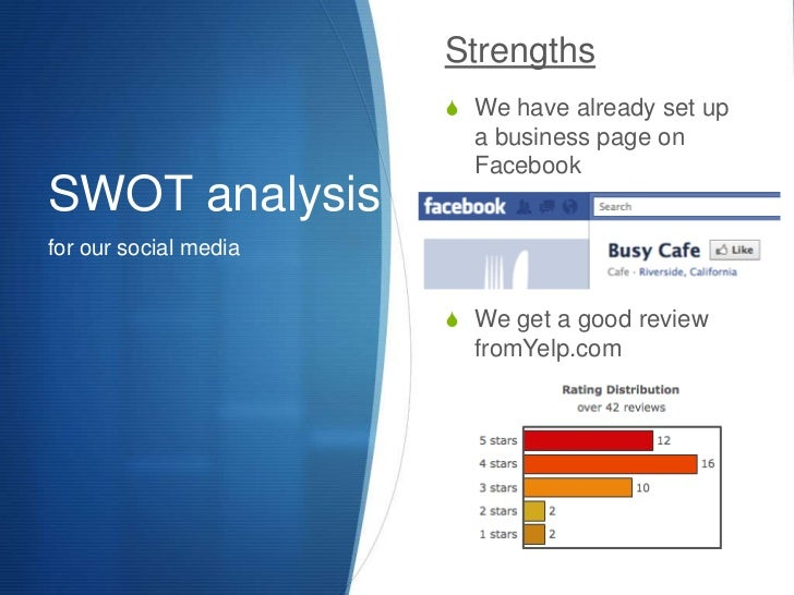SWOT analysis<br />for our social media<br />Strengths<br />We have already set up a business page on Facebook<br />We get...