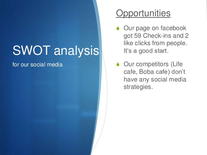 SWOT analysis<br />for our social media<br />Opportunities<br />Our page on facebook got 59 Check-ins and 2 like clicks fr...