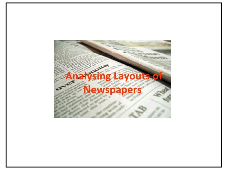 Analysing Layouts of Newspapers