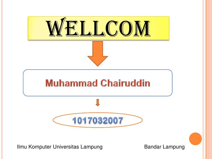 Wellcom <br />Muhammad Chairuddin<br />1017032007<br />Ilmu Komputer Universitas LampungBandar Lampung<br />