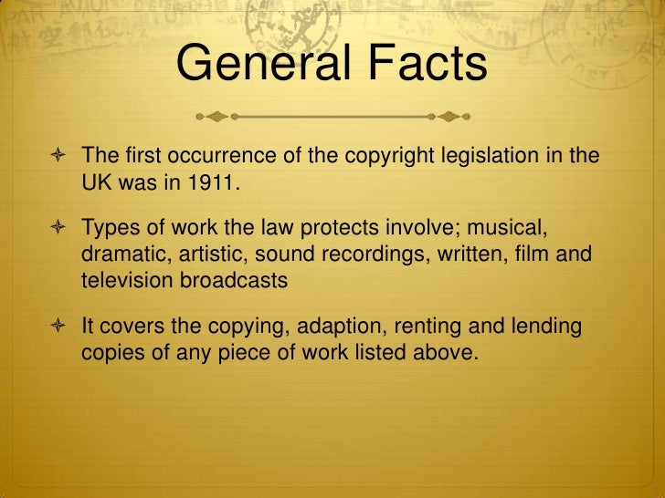 Copyright legislation for Copyright facts and information