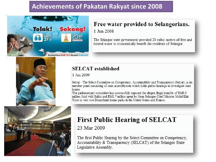 Achievements of Pakatan Rakyat since 2008