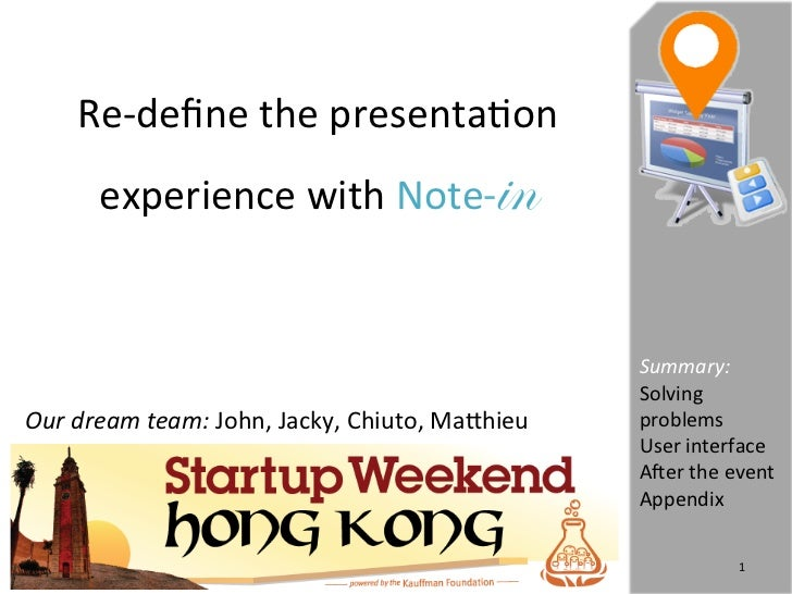 Re-‐define the presenta.on          experience with Note-                     in                              ...