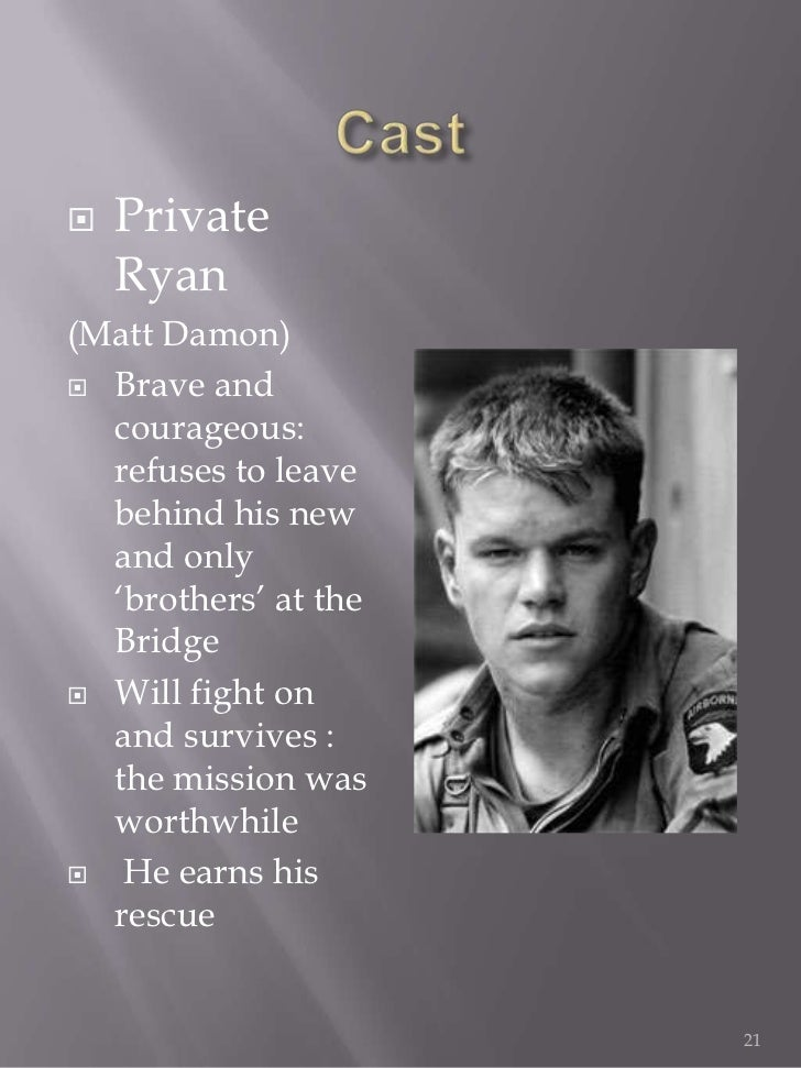 character analysis of captain john miller in the movie saving private ryan Saving private ryan to past where private ryan is going to visit captain miller's grave with his wife and a broad analysis of the movie.