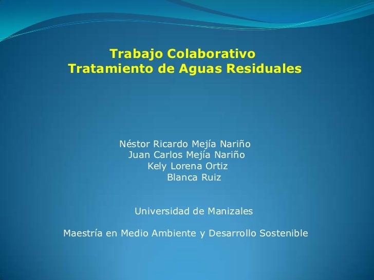 Trabajo ColaborativoTratamiento de Aguas Residuales           Néstor Ricardo Mejía Nariño            Juan Carlos Mejía Nar...