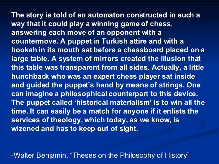 The story is told of an automaton constructed in such a way that it could play a winning game of chess, answering each mov...