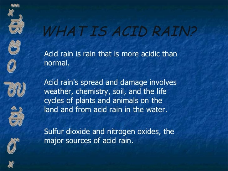 acid rain essay conclusion Acid rain essay rainfall is slightly acidic because carbon dioxide in the atmosphere dissolves in the raindrops to produce hydrogen ions yet, normal rainfall is not considered acid rain acid rain is a form of air pollution in which airborne acids produced by electric utility plants and other sources fall to earth in distant regions.